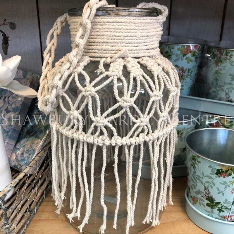 Picture of Gisela Graham Glass Vase w Macrame, Tall