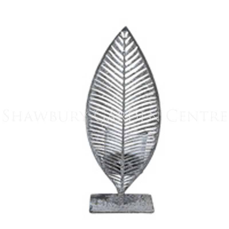 Picture of Gisela Graham Grey Metal Silhouette Leaf T-Lite Holder