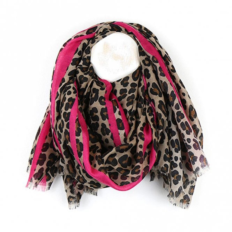Picture of Leopard Print with Pink Border Scarf