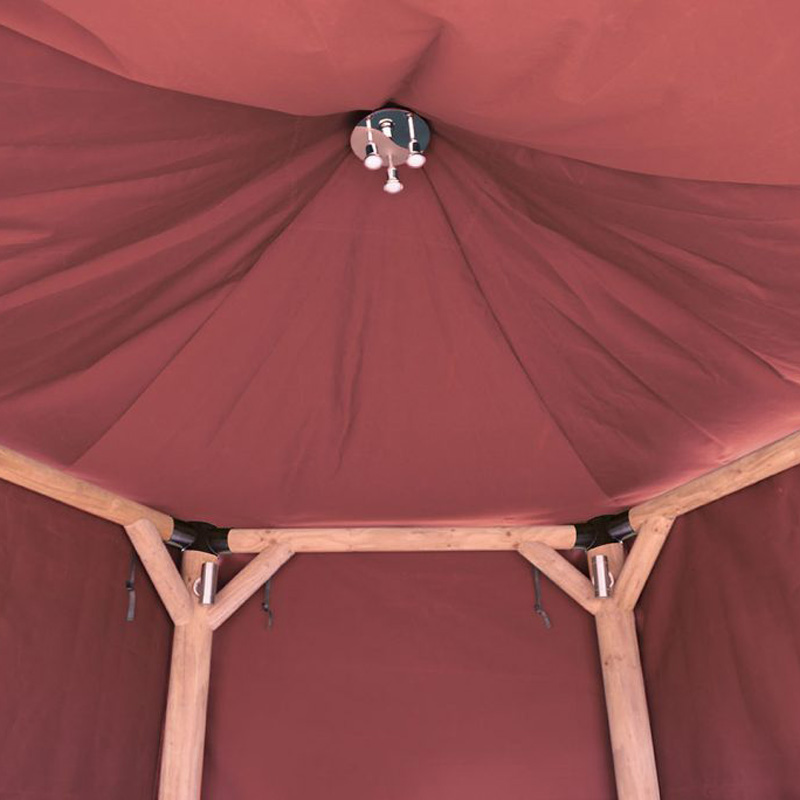 Picture of Forest Garden Hexagonal Gazebo with Thatched Roof + Terracotta Lining