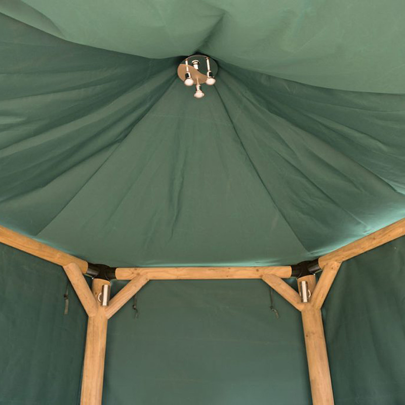 Picture of Forest Garden Hexagonal Gazebo with Thatched Roof, Green Lining & Furniture