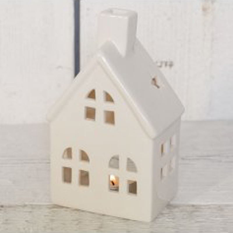 Picture of White Ceramic Cottage Tealight Holder