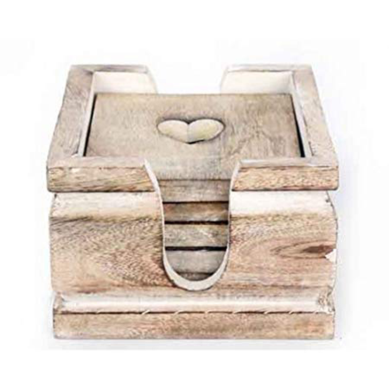 Picture of Set of 6 Wooden Heart Coasters