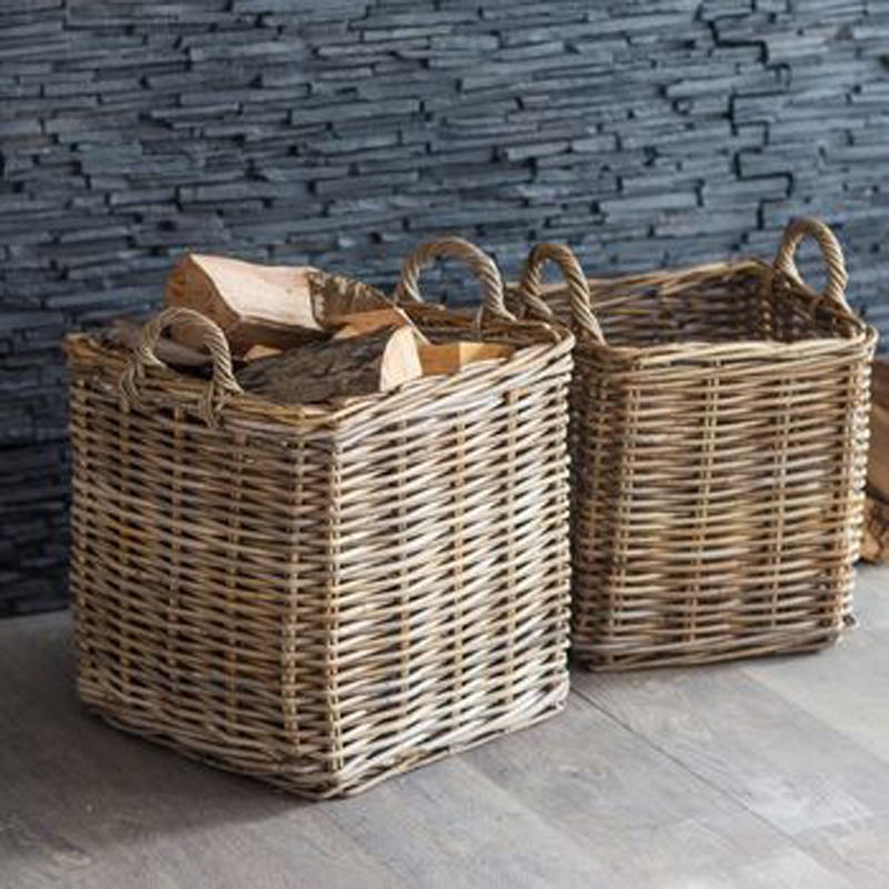 Picture of Square Hand Woven Rattan Log Basket with Handles