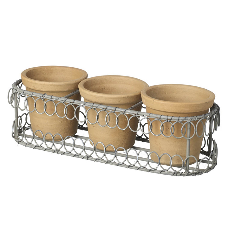 Picture of Parlane Terracotta Pots Trio in Wire Holder
