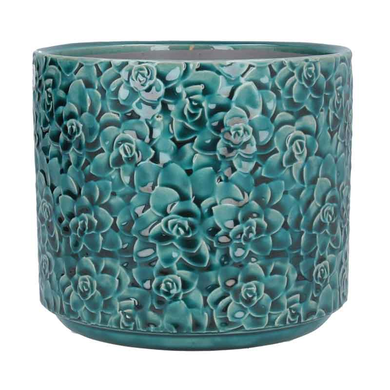 Picture of Gisela Graham Teal Succulent Ceramic Pot Cover