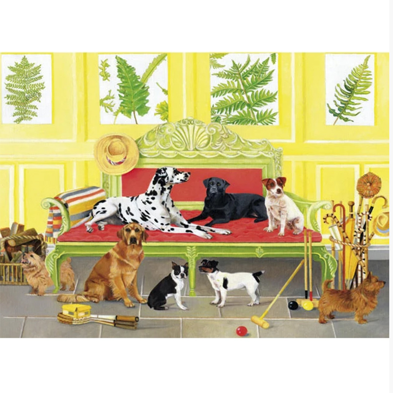 Picture of DOGS IN THE GAMES ROOM Card by E B Watts