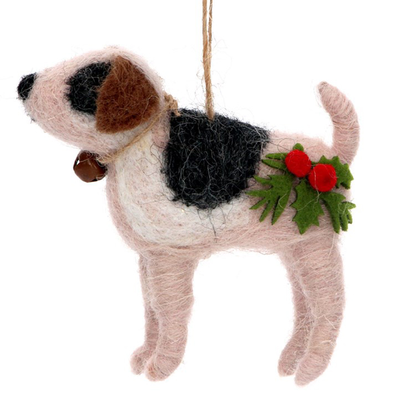 Picture of Gisela Graham Woolen Dog with Holly & Bell Deco