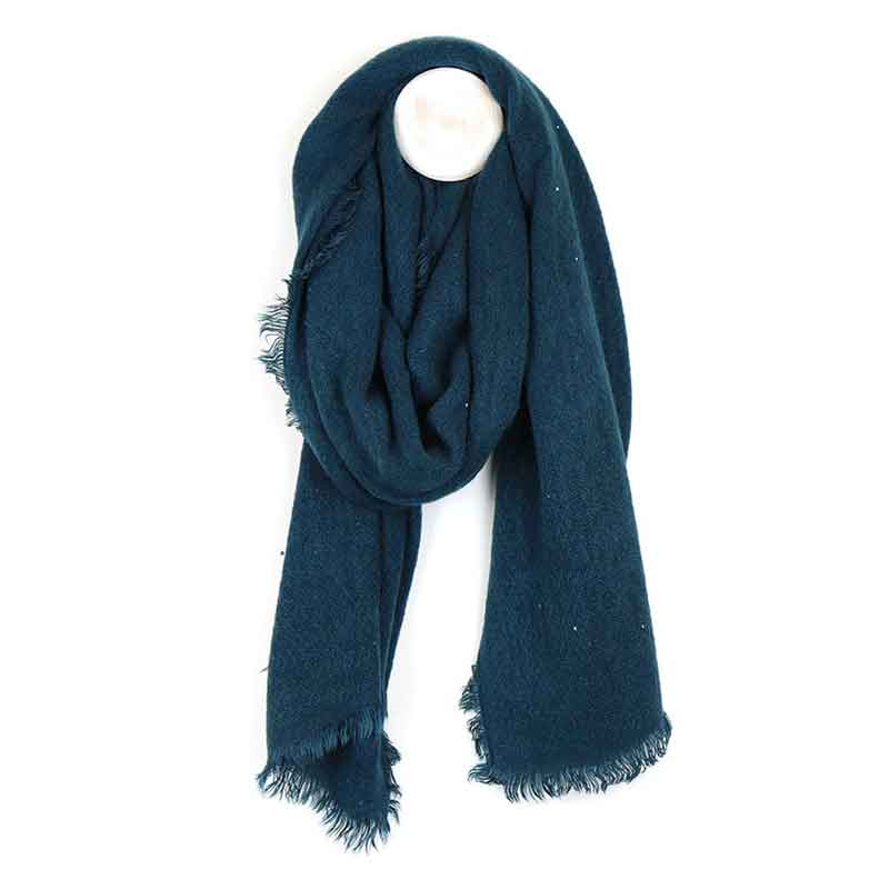 Picture of pom925 Teal Loose Weave Scarf with Sequins
