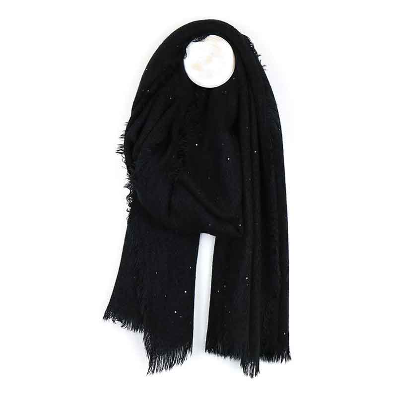 Picture of pom925 Black Loose Weave Scarf with Sequins