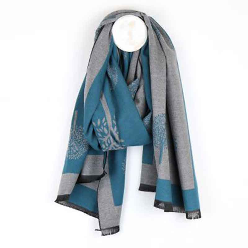 Picture of pom925 Reversible Tree Print Scarf
