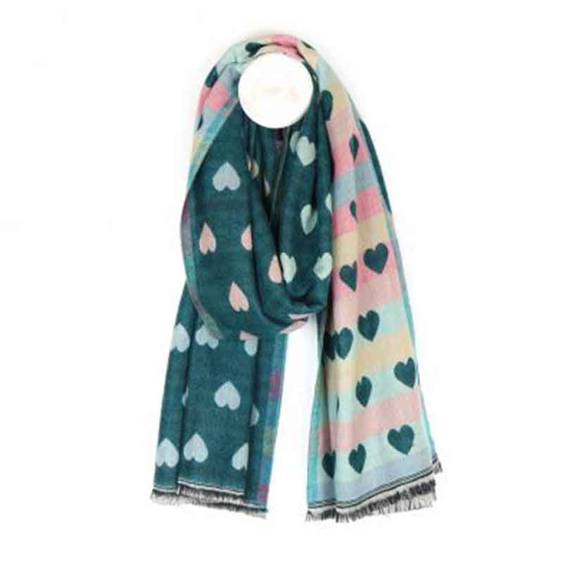 Picture of pom925 Reversible Teal and Pastel Heart Scarf