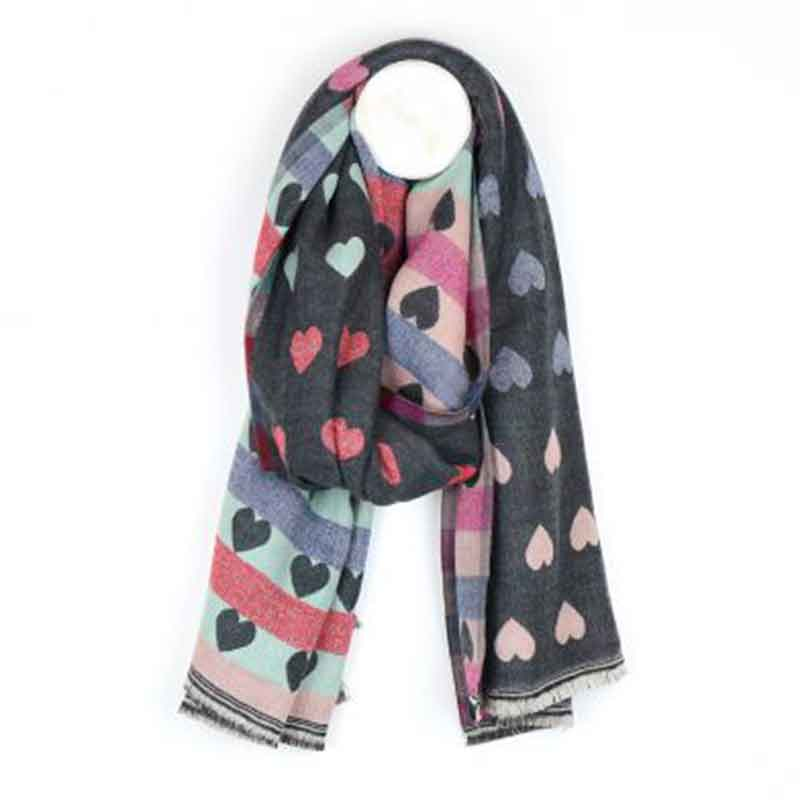 Picture of pom925 Reversible Grey and Pastel Heart Scarf