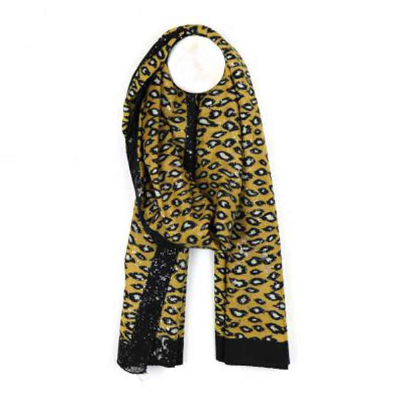 Picture of pom925 Mustard Animal Print Scarf
