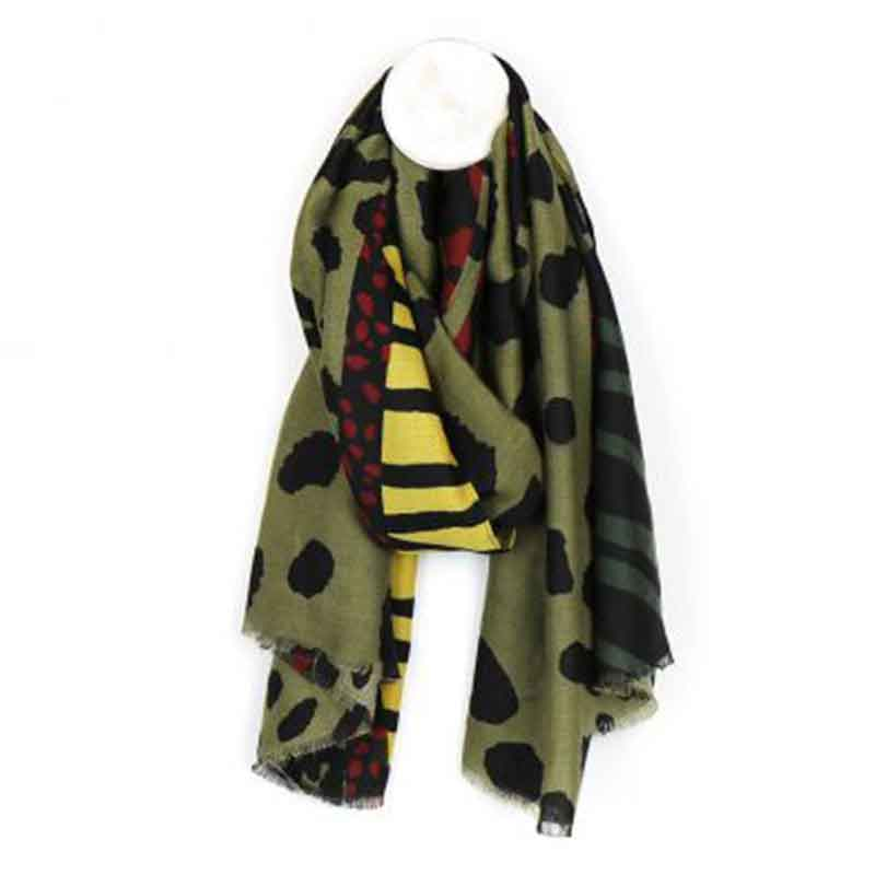 Picture of pom925 Khaki Mix Animal Print Scarf