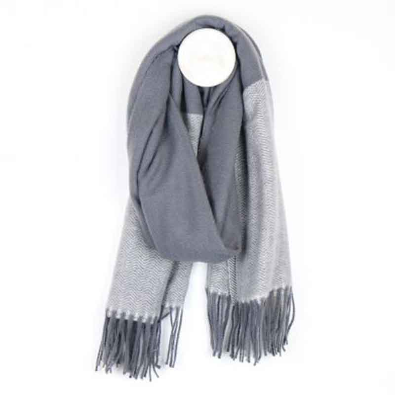 Picture of pom925 Grey Herringone Scarf with Fringed Ends