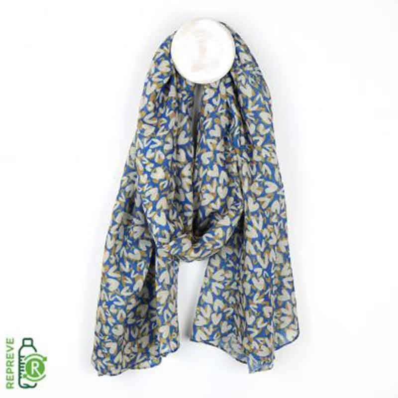 Picture of pom925 Blue Scarf with Heart Print