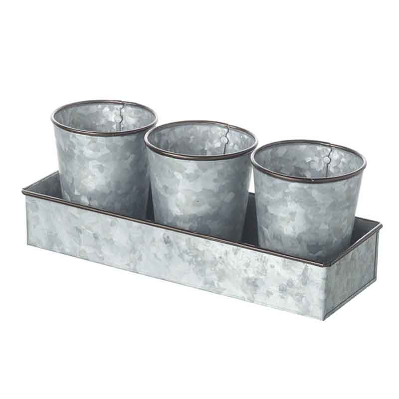 Picture of Parlane SUTTON Trio of Zinc Pots with Tray