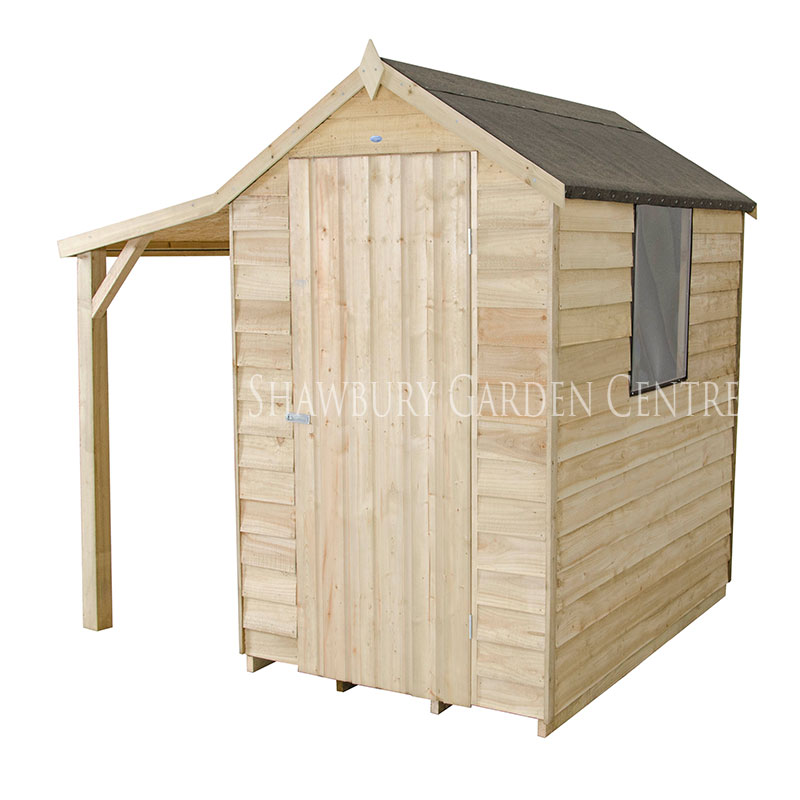 Picture of Forest Garden 4 x 6 Pressure Treated Overlap Apex Shed With Lean To - Assembled