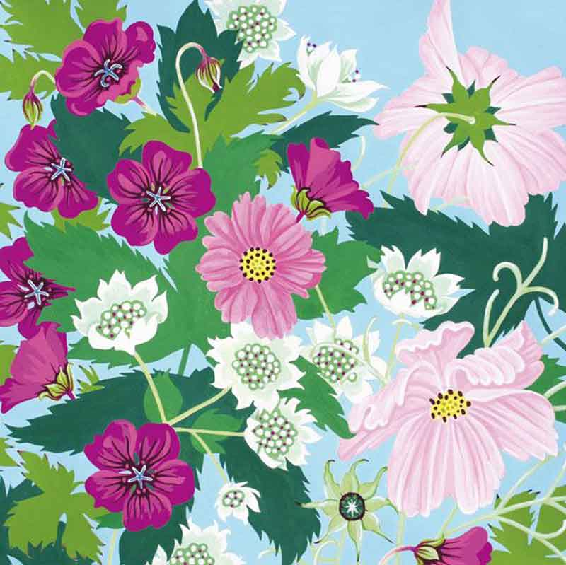 Picture of Astrantia, Cosmos & Geraniums by Jenny Hancock - blank inside card