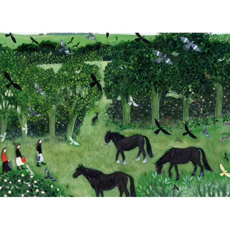 Picture of GIRLS AND HORSES by Dee Nickerson - blank inside card