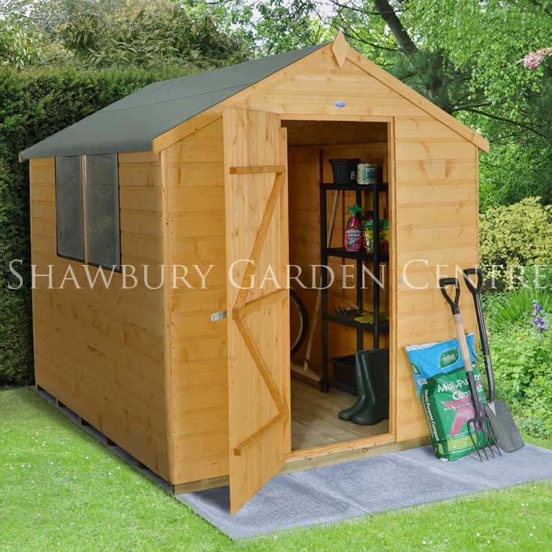 Forest garden 6 x 8 shiplap apex shed assembled for Apex garden sheds