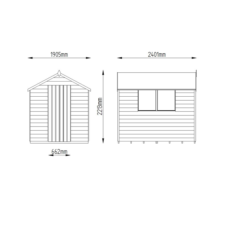 Picture of Forest Garden 6 x 8 Shiplap Apex Shed - ASSEMBLED