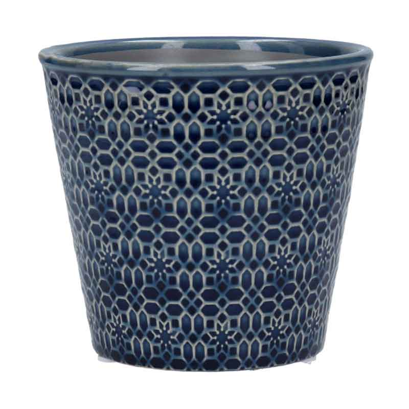Picture of Gisela Graham Navy Mosaic Ceramic Pot Cover