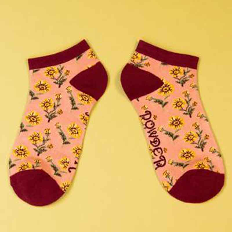 Picture of Powder Yellow Flower Trainer Socks
