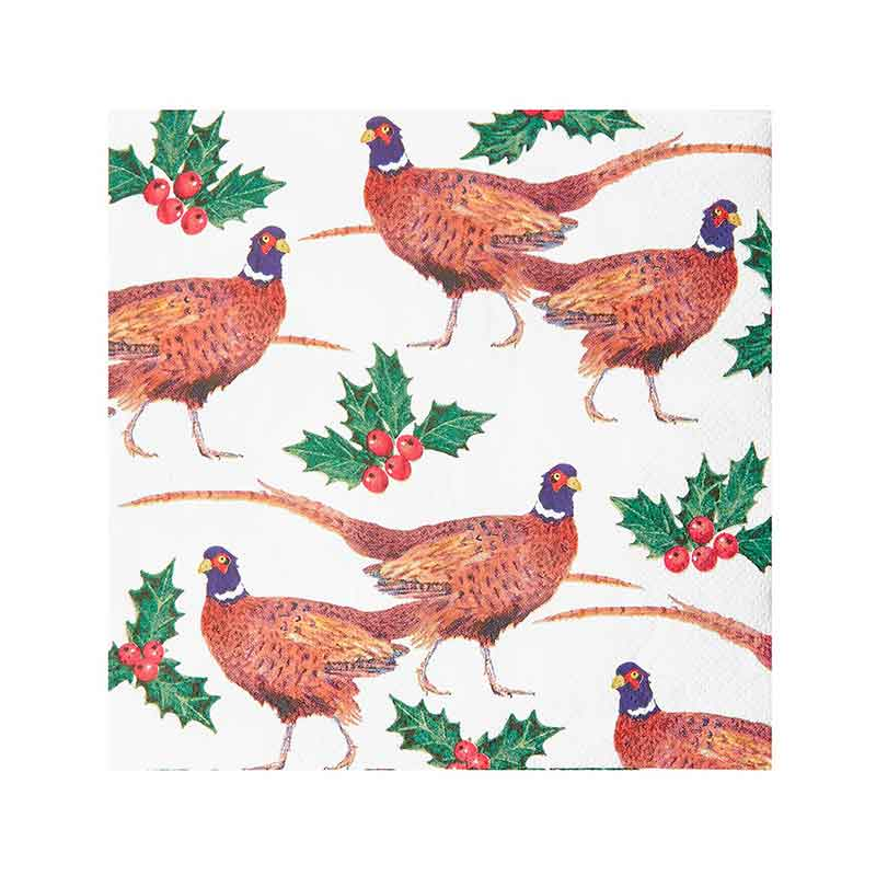 Picture of Talking Tables Botanical Holly Pheasant Napkins