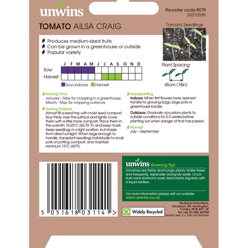 Picture of Unwins 'Ailsa Craig' Tomato Seeds