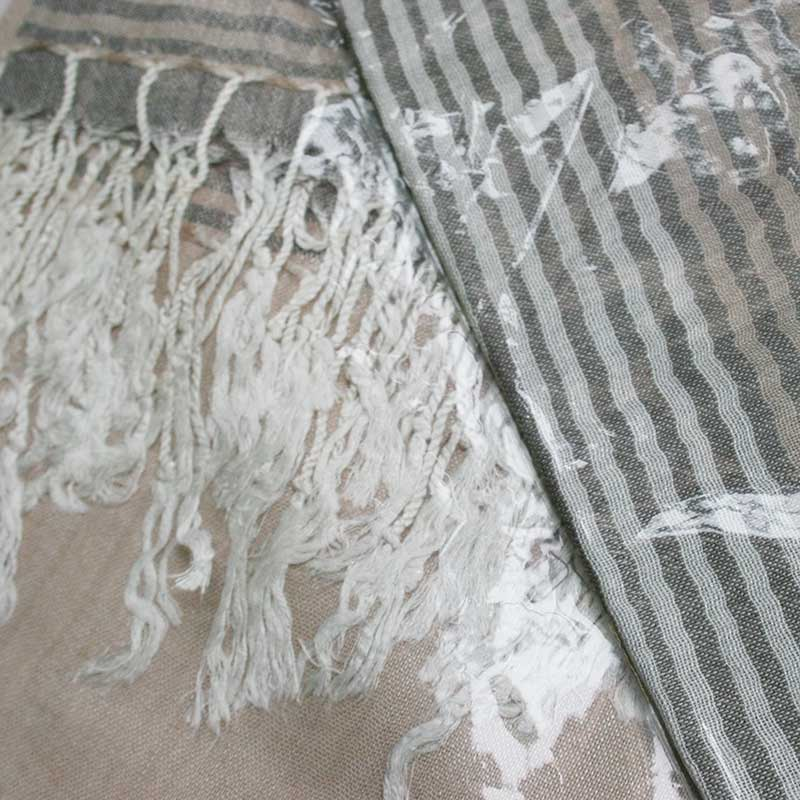 Picture of Taupe & Grey Stripe Scarf with Ivory Tassel Trim