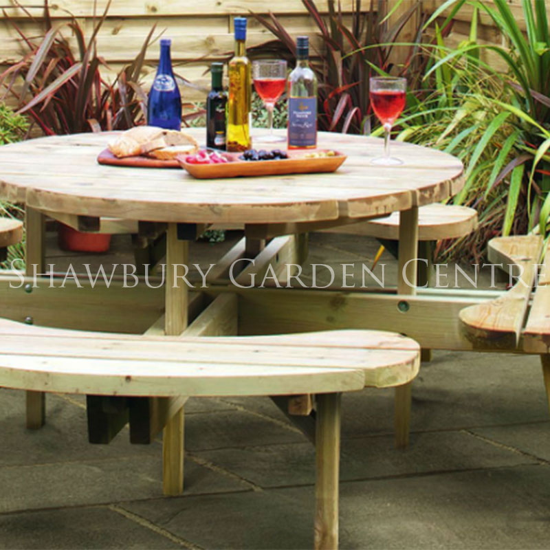 Grange round picnic table for 10 person picnic table