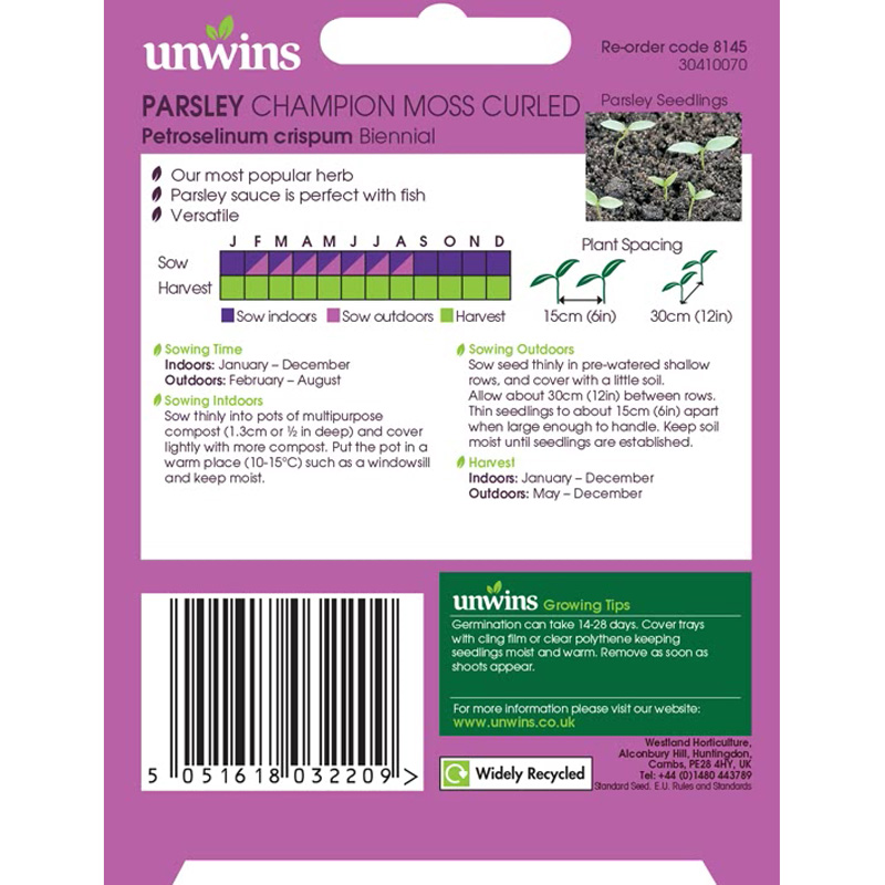 Picture of Unwins PARSLEY Champion Moss Curled Seeds