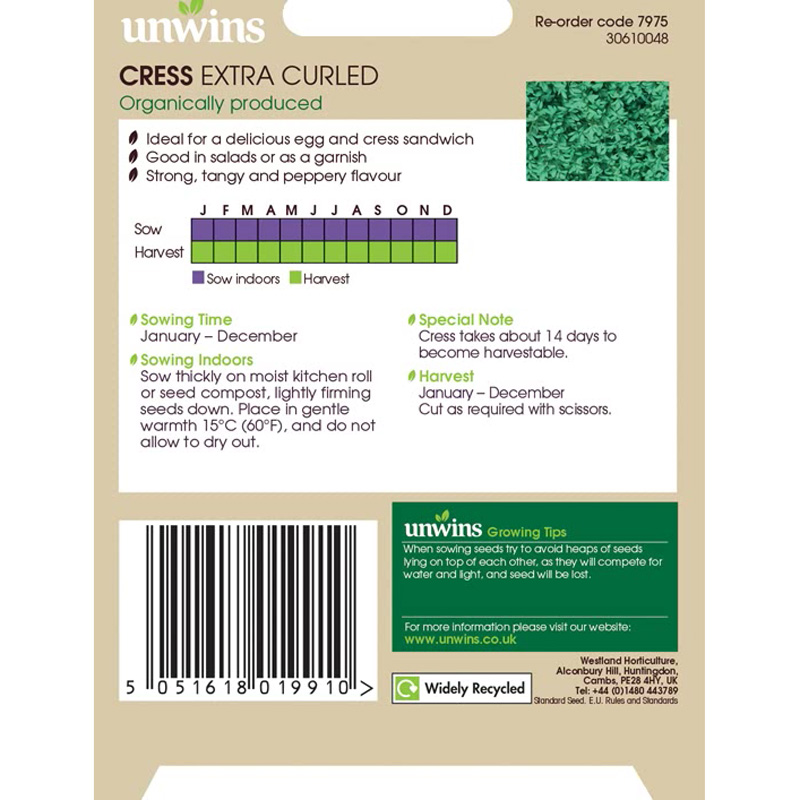 Picture of Unwins Organic 'Extra Curled' Cress Seeds