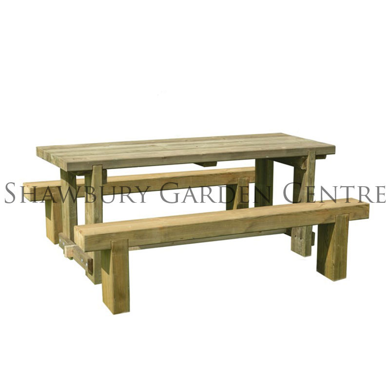 Picture of Forest Garden 1.8m Refectory Table & Sleeper Bench Furniture Set