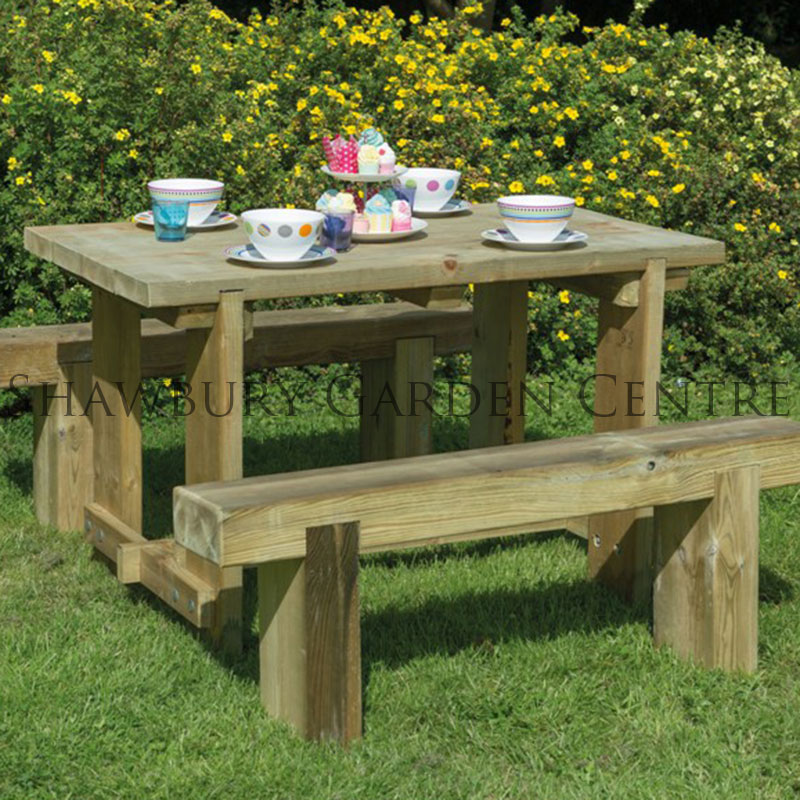 Picture of Forest Garden 1.2m Refectory Table & Sleeper Bench Furniture Set