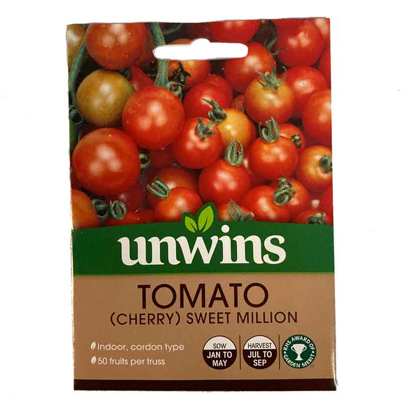 unwins sweet million cherry tomato seeds pack of 15 seeds. Black Bedroom Furniture Sets. Home Design Ideas