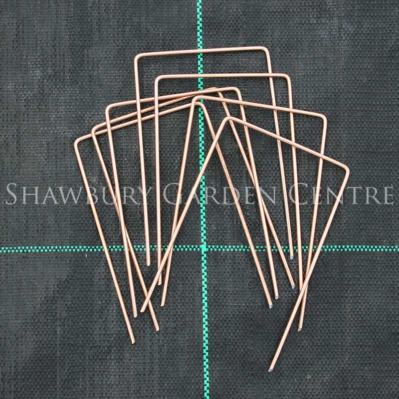 Picture of Coppered Metal Staples for Landscaping Geotextiles