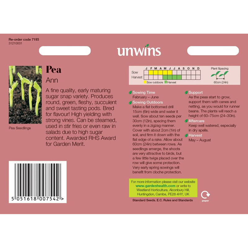 Picture of Unwins 'Ann' Sugar Snap Pea Seeds