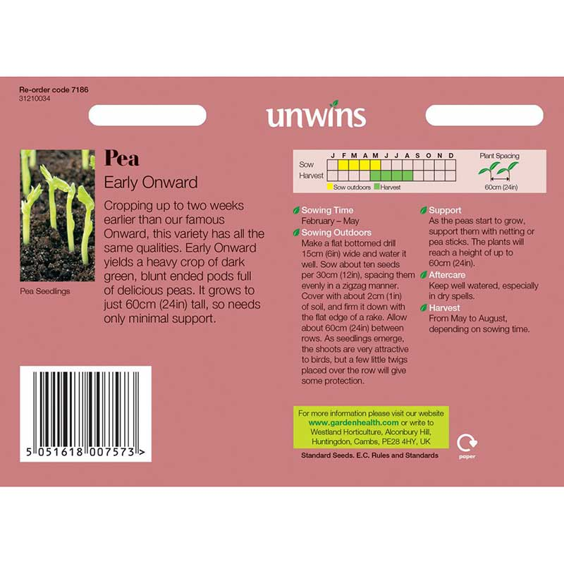 Picture of Unwins 'Early Onward' Pea Seeds