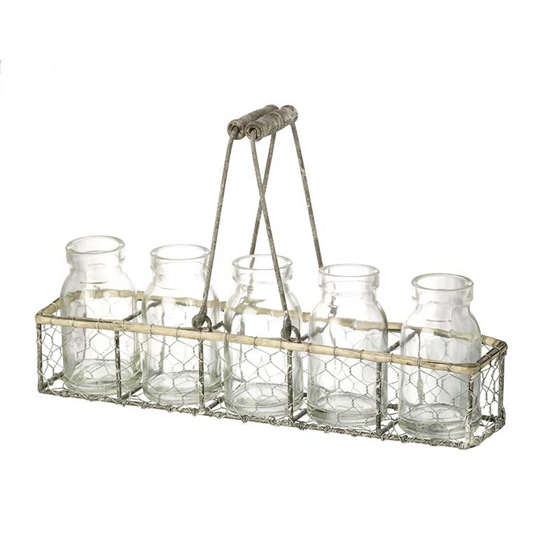 Parlane Glass Milk Bottle Style Vases in Chicken Wire Basket