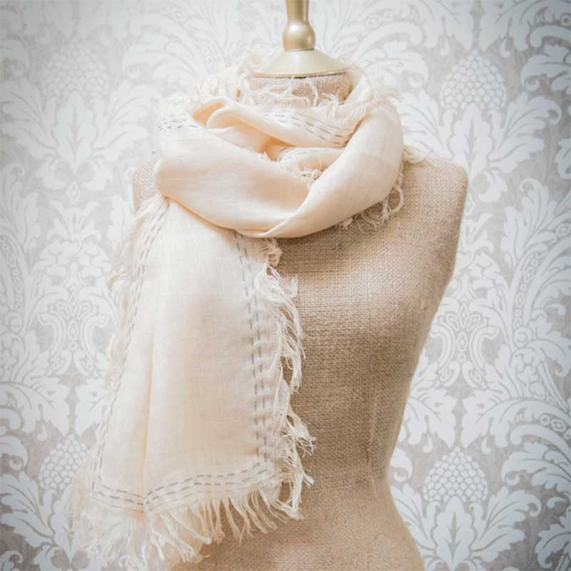 Picture of Powder 'Bordeaux' Linen Scarf