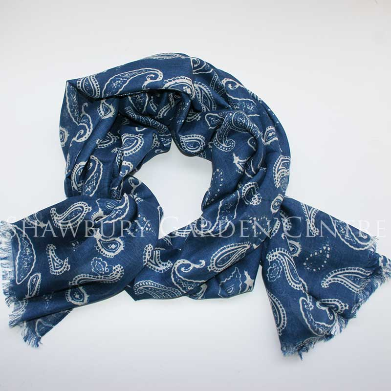 Picture of Blue and White Paisley Scarf