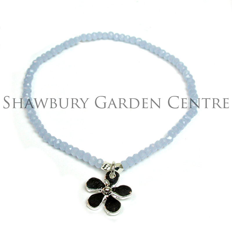 Picture of Pale Blue Beaded Bracelet with Silver Plated Flower Charm