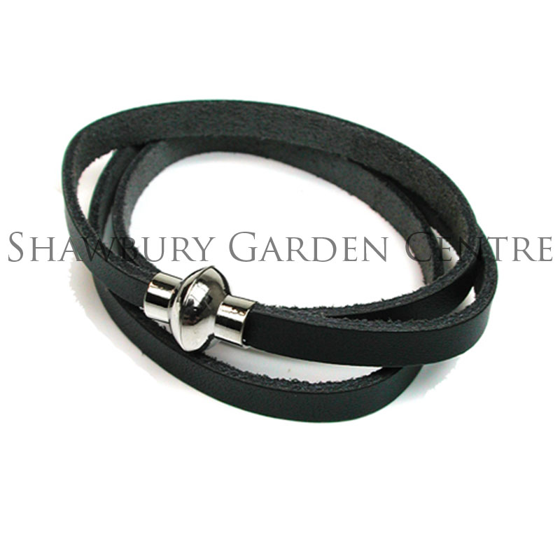 Picture of Navy Leather Wrap Around Bracelet with Magnetic Fastening