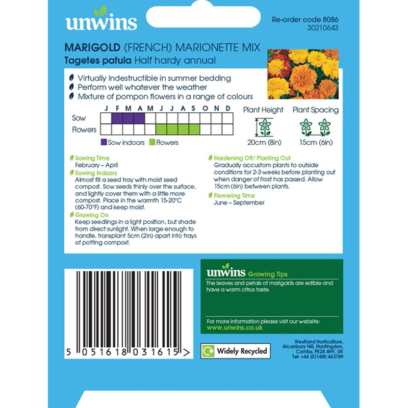 Picture of Unwins FRENCH MARIGOLD 'Marionette Mix' Seeds