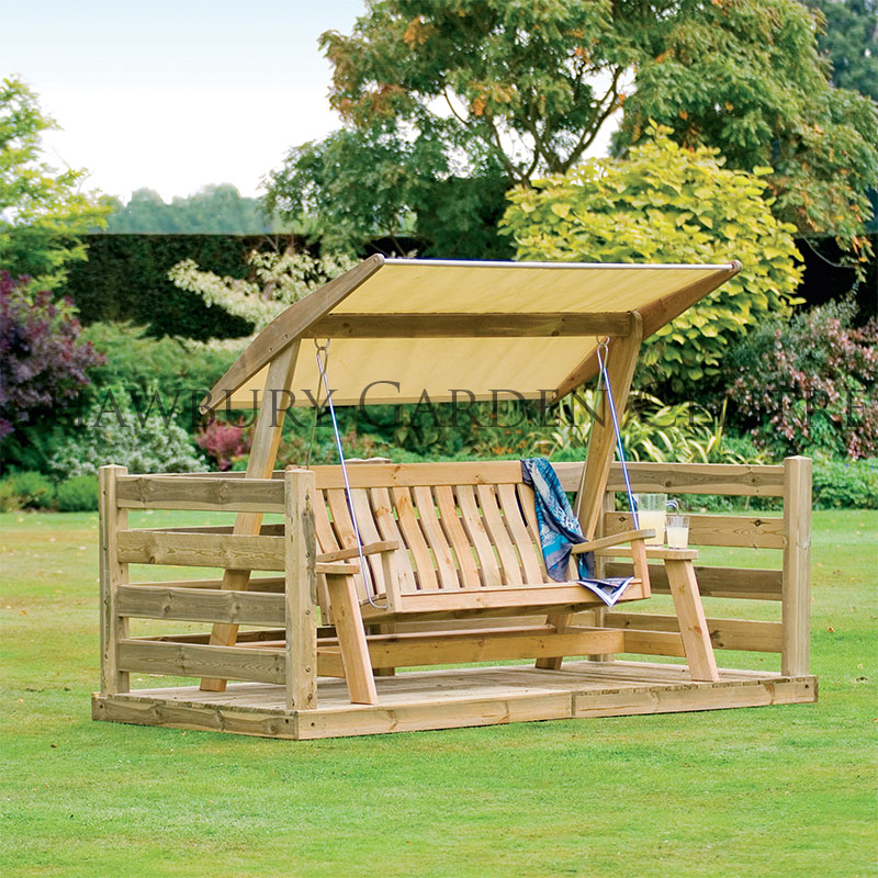 Picture of Alexander Rose Farmer's Pine Swing Seat with Canopy