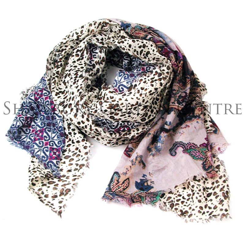 Picture of Paisley & Animal Print Patchwork Scarf