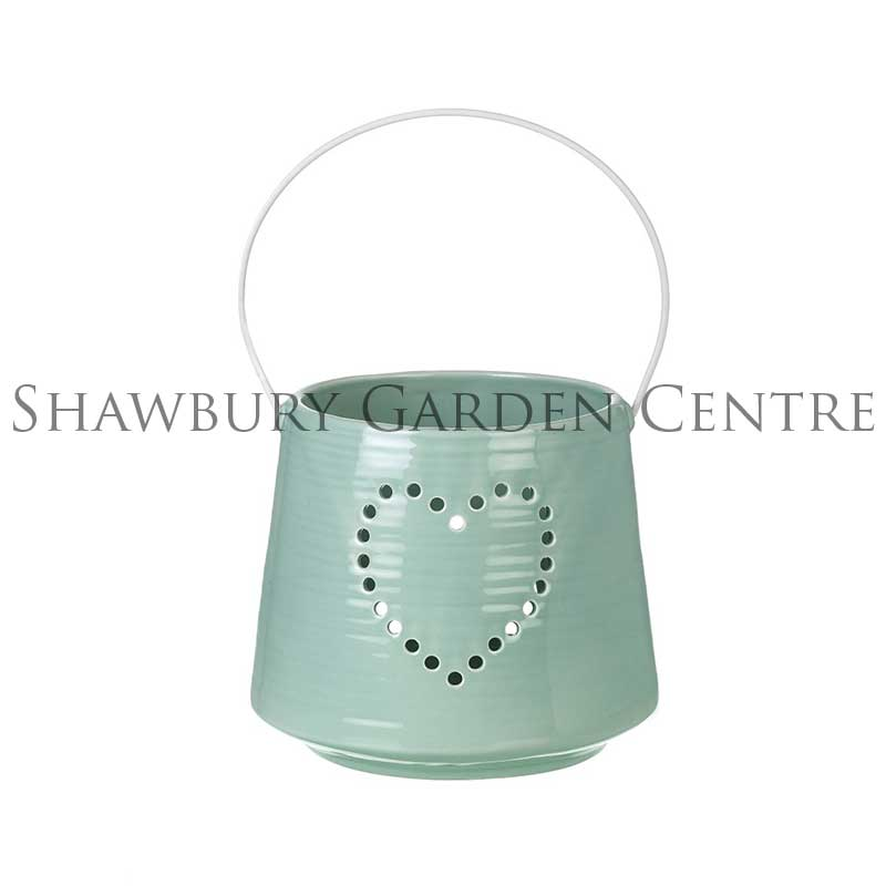 Picture of Parlane Turquoise Ceramic Lantern with Heart Cutout